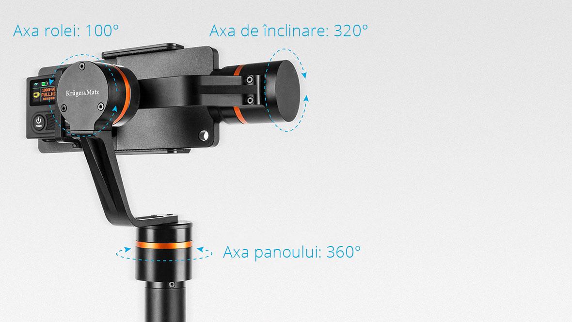 Pastreaza momentele de neuitat in filmari video! Gimbalul pe 3 axe Horizon de la Kruger & Matz este un dispozitiv de mici dimensiuni dar care incorporeaza tehnologia necesar� pentru a oferi stabilizarea imaginii si inregistrarea fluida a cadrelor, indiferent ca filmezi cu un smartphone sau cu o camera video. Horizon va elimina socurile cauzate de tremuratul mainilor si astfel filmarea va fii de o calitate superioara.