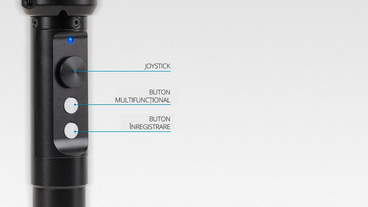 Suportul gimbalului Horizon este extrem de simplu si de intuitiv, astfel ca este o adevarata placere pentru tine sa faci poze si filmari! Ai nevoie de o singura mana pentru operare, pentru ca totul se reduce la un joystick cu 4 cai si doua butoane functionale. Vezi cat de simplu poti deveni un operator video.