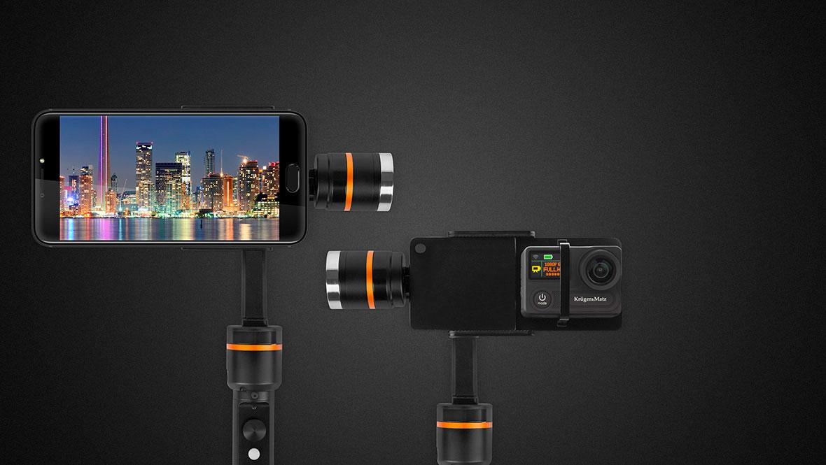 Constructia gimbalului Horizon de la Kruger&Matz face posibila utilizarea lui atunci cand filmezi cu o camera video sport , dar si cand faci poze cu smartphone-ul tau. Daca vrei sa surprinzi momente importante intr-un mod unic, atunci gimbalul este facut special pentru tine!
