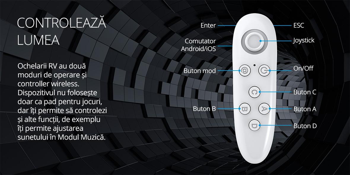 Ochelarii RV au doua moduri de operare si controller wireless. Dispozitivul nu foloseste doar ca pad pentru jocuri, dar iti permite sa controlezi si alte functii, de exemplu iti permite ajustarea sunetului in Modul Muzica.