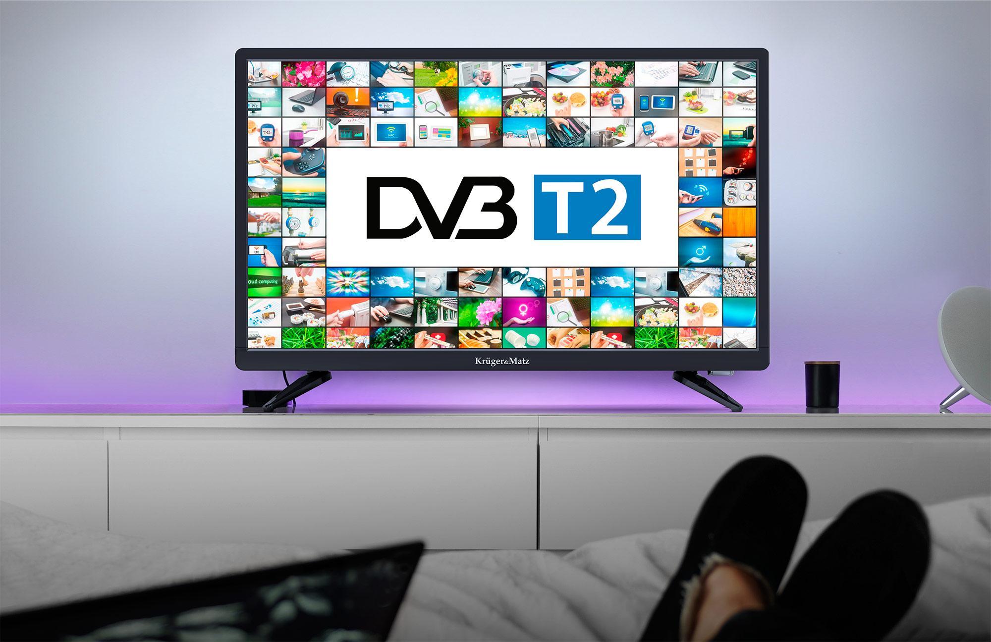 Pentru un plus de confort in utilizare noul televizor de 22 inch de la Kruger&Matz este dotat cu tuner DVB-T2 care foloseste pentru a putea prinde posturile transmise in format digital. Acum nu mai trebuie sa cumperi echipamente in plus!