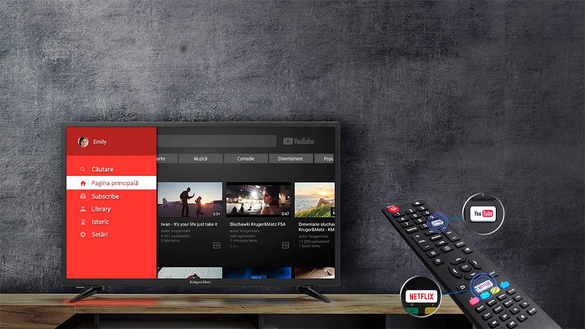 Ai deseori impresia ca televiziunea digitala nu iti ofera tot ceea ce doreai? Televizoarele Kruger&Matz iti ofera mai mult! Datorita modemului Wi-Fi incorporat si portului RJ-45 este usor sa te contectezi la o retea, accesand browser-ul de internet, Youtube si Netflix. Posibilitatile sunt nelimitate!