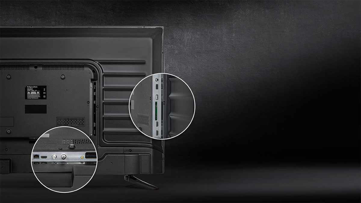 Televizorul Kruger&Matz este dotat cu o serie de porturi care iti permit conectarea de dispozitive suplimentare, transformand televizorul intr-o adevarata platforma de distractie. Urmareste filme, contecteaza consola de jocuri sau sistemul audio si profita la maxim de specificatiile televizorului tau.