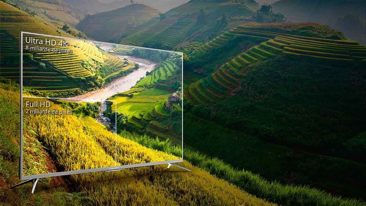 Vrei o calitate a imaginii care sa iti permita sa vezi orice detaliu? Vino in noua dimensiune a televizoarelor 4K de la Kruger&Matz! In comparatie cu televizoarele Full HD are o rezolutie de 4 ori mai mare, care iti permite sa observi si cele mai mici detalii.