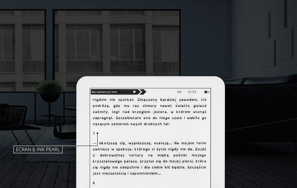 Ceea ce atrage atentia este ecranul cu tehnologie E-ink Pearl, cea mai importanta caracteristica fiind aceea ca imita foarte bine hartia adevarata. In realitate, Library 2 de la Kruger&Matz reflecta lumina la fel ca si hartia clasica, astfel incat toate literele, numerele, semnele si imaginile vor arata ca si cand sunt scrise cu cerneala. Astfel, fie ca citesti o perioada indelungata in confortul propriei case sau in parc intr-o zi insorita, ecranul va reda imaginea fara sa oboseasca ochii.