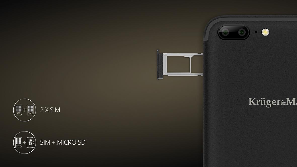Ai doua numere de telefon sau vrei sa salvezi mai multe informatii fara sa incarci memoria interna a telefonului tau? Datorita functiei dual SIM, LIVE 5 iti permite sa folosesti doua carduri SIM simultan, sau sa extinzi memoria telefonului folosind un card microSD