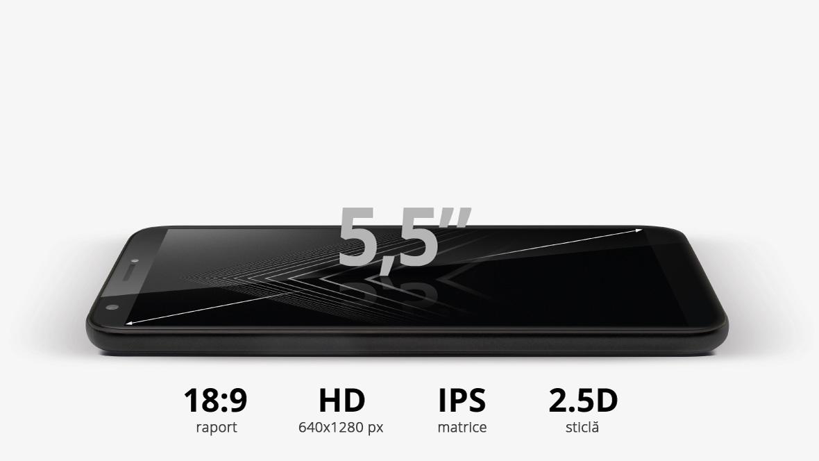 Kruger & Matz MOVE 8 este dotat cu ecran de 5.5 inch HD cu sticla rotunjita 2.5 D. Noutatea cu care vine acest model este raportul de 18:9 al imaginii. Asta inseamna ca display-ul va putea arata mai mult continut pe verticala, ceea ce imbunatateste confortul vizionarii pe internet.