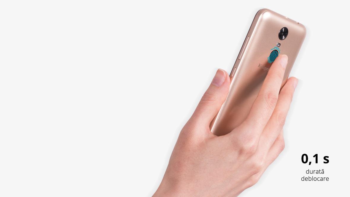 Deblocarea telefonului prin model sau cod nu este suficient de sigura pentru tine? MOVE 8 de la Kruger & Matz este dotat cu cititor de amprenta, care este o specificatie interesanta ce ofera un plus de securitate datelor de pe telefonul tau.