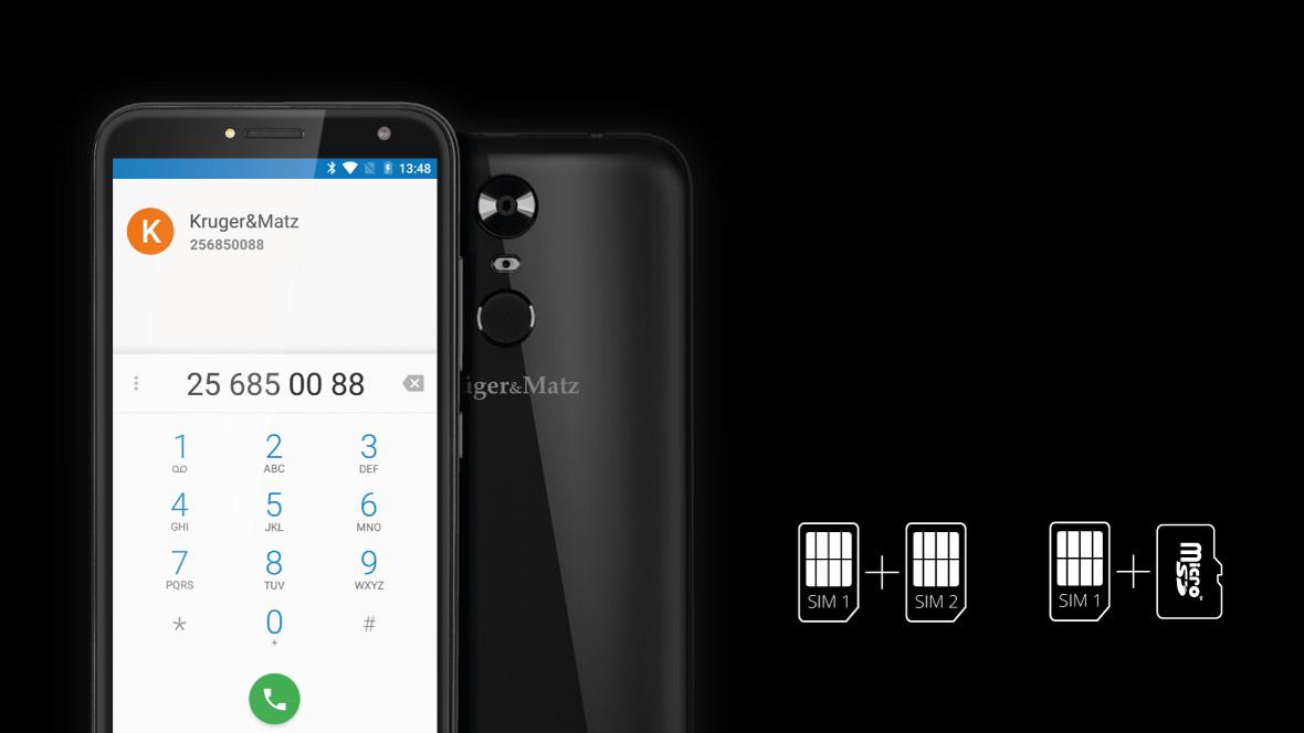 Ai mereu doua telefoane cu tine? Acum le poti inlocui cu unul singur - MOVE 8 de la Kruger & Matz! Smartphone-ul are functie dual SIM, ceea ce permite utilizarea a doua carduri simultan. In plus, daca cei 8 GB de memorie interna nu iti sunt suficienti, poti folosi unul din cele doua sloturi pentru pentru a instala un card microSD pentru a extinde memoria dispozitivului.