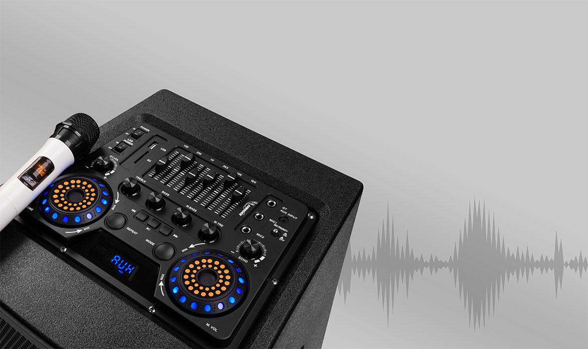 Panelul de control asezat pe una dintre coloane are o serie de functionalitati, inclusiv corectia sunetului, care te va face sa dansezi indiferent de melodie. Nu trebuie sa iti faci griji indiferent unde ai stocate melodiile preferate. Boxele Stage One au intrare AUX, port USB si slot pentru card SD, dandu-ti libertatea necesara pentru a avea cele mai reusite evenimente. Mai mult, poti reda wireless muzica de pe diverse dispozitive mobile prin modulul Bluetooth.