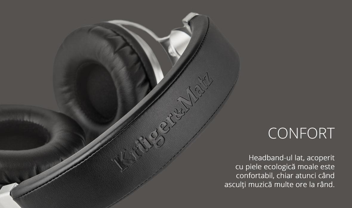 Headband-ul lat, acoperit cu piele ecologica moale este confortabil, chiar atunci cand asculti muzica multe ore la rand.