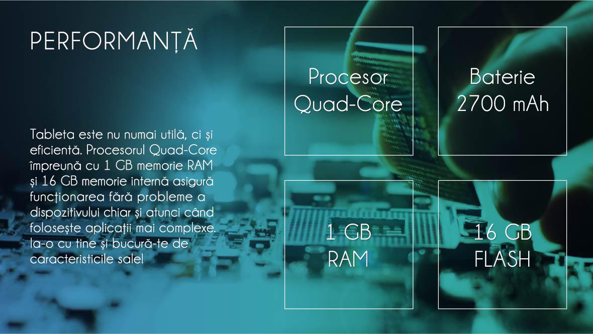Tableta este nu numai utila, ci si eficienta. Procesorul Quad-core impreuna cu 1 GB memorie RAM si 16 GB memorie interna asigura functionarea fara probleme a dispozitivului chiar si atunci cand foloseste aplicatii mai complexe. Ia-o cu tine si bucura-te de caracteristicile sale!!