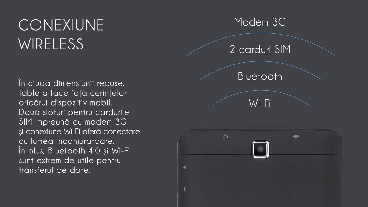 In ciuda dimensiunii reduse, tableta face fata cerintelor oricarui dispozitiv mobil. Doua solturi pentru cardurile SIM impreuna cu modem 3G si conexiune Wi-Fi ofera conectare cu lumea inconjuratoare. In plus, Bluetooth 4.0 si Wi-Fi sunt extrem de utile pentru transferul de date.