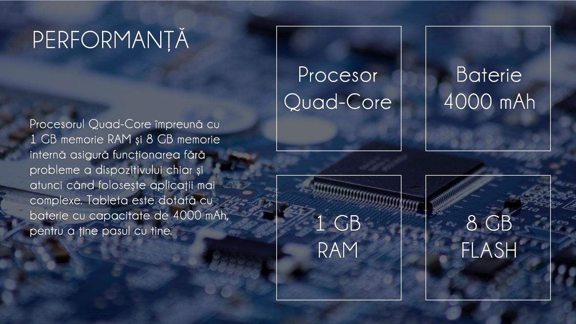 Procesorul Quad-core impreuna cu 1GB memorie RAM si 8 GB memorie interna asigura functionarea fara probleme a dispozitivului chiar si atunci cand foloseste aplicatii mai complexe. Tableta este dotata cu baterie cu capacitatea de 4000 mAh, pentru a tine pasul cu tine.
