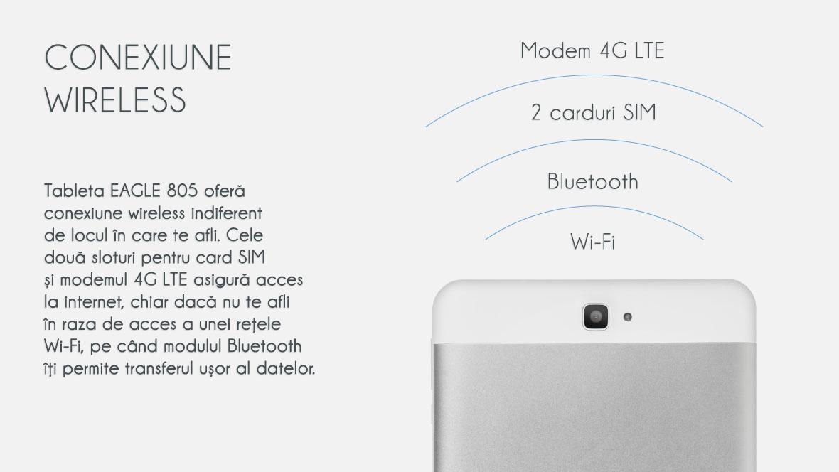 Tableta EAGLE 805 ofera conexiune wireless indiferent de locul in care te afli. Cele doua sloturi pentru card SIM si modemul 4G LTE asigura acces la internet, chiar daca nu te afli in raza de acces a unei retele Wi-Fi, pe cand modulul Bluetooth iti permite transferul usor al datelor.
