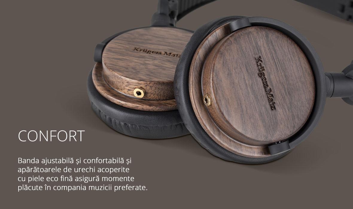 Banda ajustabila si confortabila si aparatoarele de urechi acoperite cu piele eco fina asigura momente placute in compania muzicii preferate.