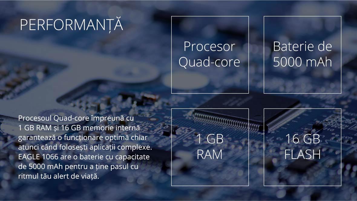 Procesoul Quad-core impreuna cu 1 GB RAM si 16 GB memorie interna garanteaza o functionare optima chiar atunci cand folosesti aplicatii complexe. EAGLE 1066 are o baterie cu capacitate de 5000 mAh pentru a tine pasul cu ritmul tau alert de viata.