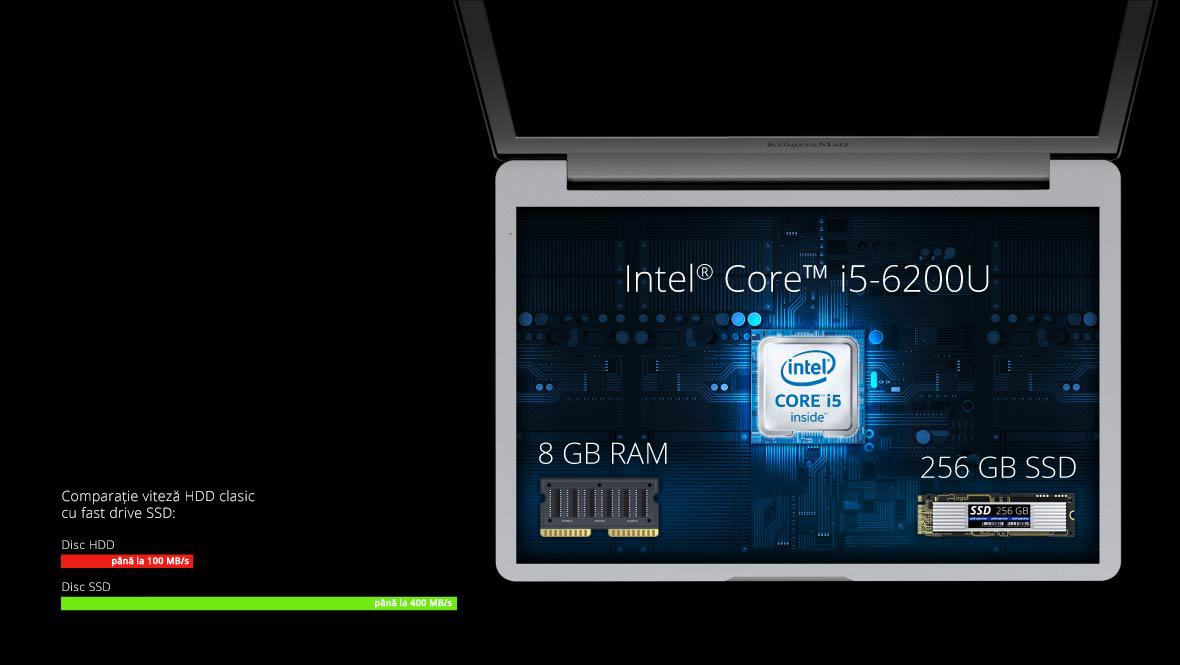 Fie ca folosesti Explore Pro 1510 pentru lucru sau pentru distractie, jocuri sau sa vizionezi filme, te vei bucura de performanta sa mai multe ore la rand. Acest lucru este garantat de procesorul Intel Core i5-6200U si de cei 8 GB memorie RAM. Functionarea rapida este data si de SSD-ul incorporat de 256 GB.