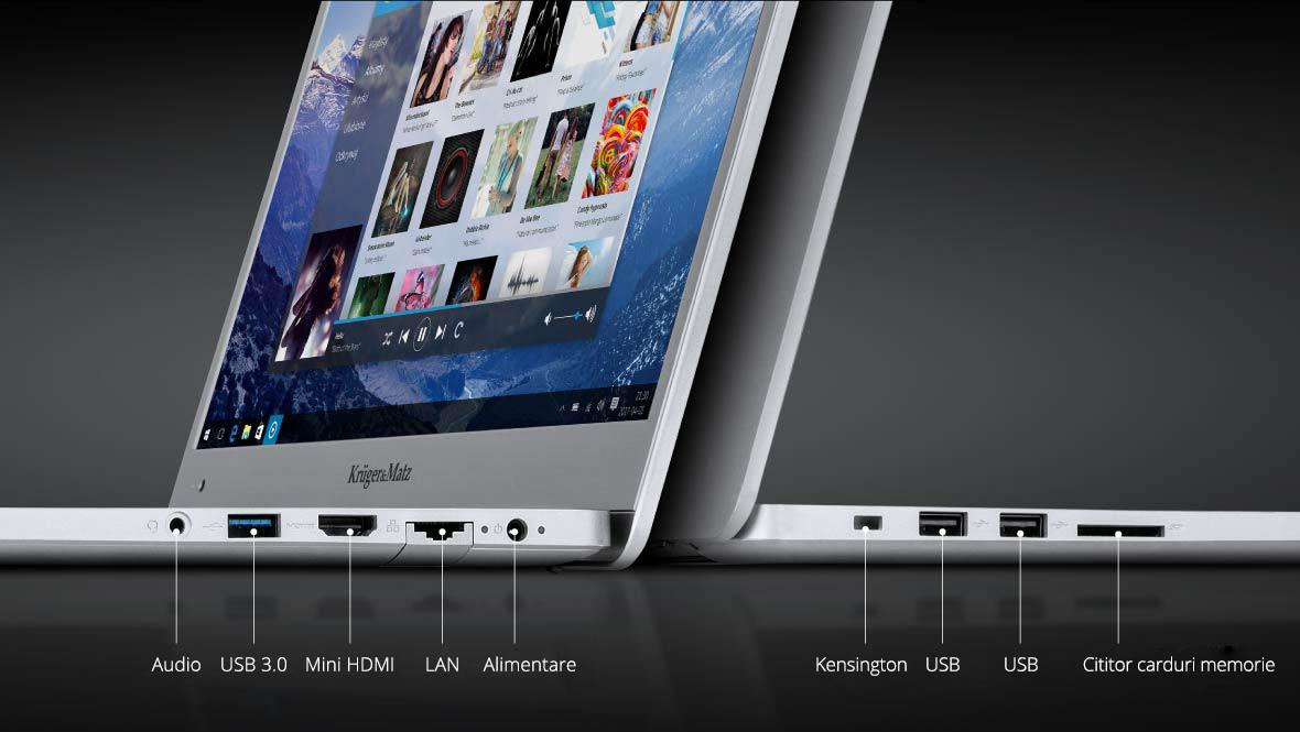 Seria de laptopuri Explore Pro de la Kruger & Matz iti ofera tot ce ai nevoie. Ai astfel la dispozitie: trei porturi USB (inclusiv un port USB 3.0), iar pentru conectarea de dispozitve externe ai portul mini HDMI, care iti permite sa folosesti ecrane mai mari si sisteme audio. In plus, poti trimite poze sau alte date direct de pe sau pe un card de memorie prin intermediul slotului pentru card SD. Daca la lucru utilizezi laptopul, atunci conexiunea LAN iti va permite conectarea directa la reteaua locala.