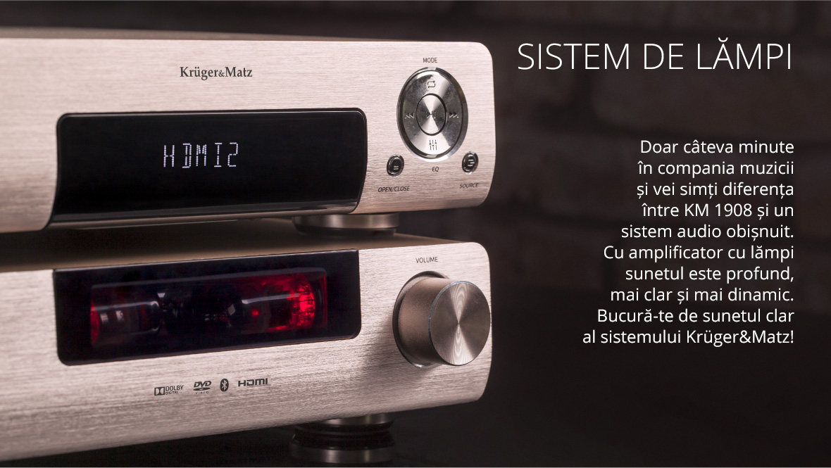 Vrei sa asculti muzica stocata pe smartphone, dar nu ai cablul de care ai nevoie? Nici o problema! Sistemul KM 1908 are functie Bluetooth, astfel ca poti sa il conectezi cu usurinta la un alt dispozitiv.
