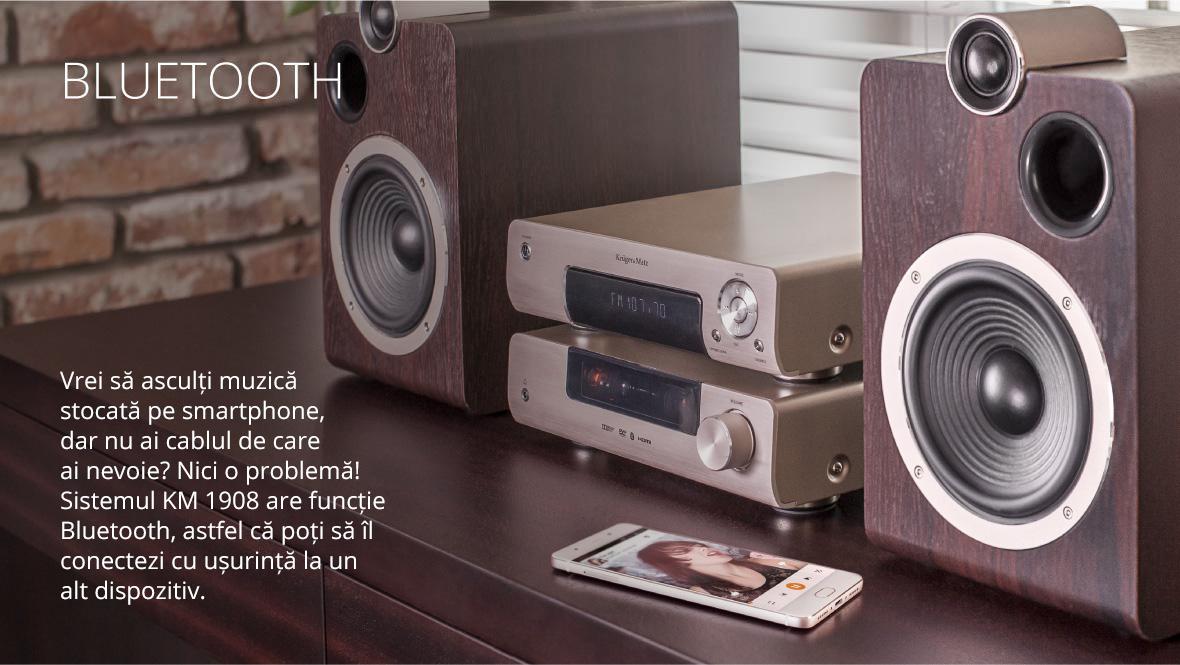 Amplificarea pe lampi nu numai ca imbunatateste calitatea sunetului, dar si da sistemului audio un farmec aparte. Lumina calda data de lampi merge mana in mana cu boxele din lemn si unitatea centrala din aluminiu mat.