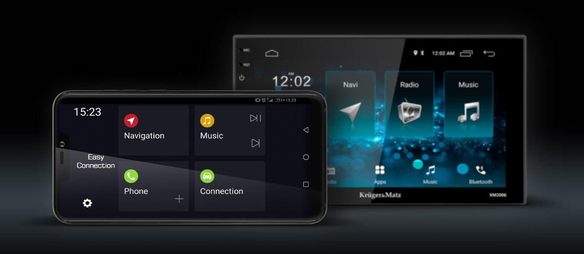 Posibilitatea de a efectua apeluri telefonice nu este singurul avantaj atunci cand conectezi radioul cu un smartphone. Aplicatia Easy Connection te ajuta inclusiv sa gestionezi navigarea sau playerul de muzica.