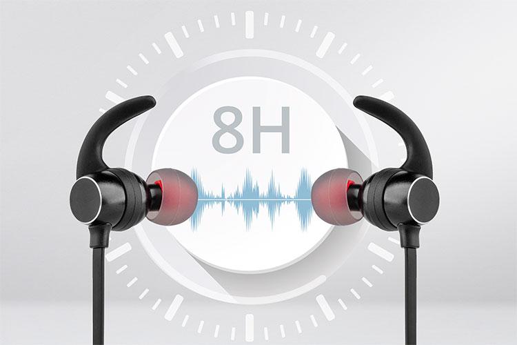 Castile P80BT de la Kruger&Matz au o baterie de 110 mAh, ceea ce inseamna ca poti sa te bucuri de muzica preferata pana la 6 ore sau poti vorbi pana la 8 ore.