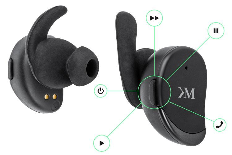 Desi nu au cabluri, castile au panou de control. Fiecare casca are un buton multi-functional care iti permite sa ai acces la muzica si la apelurile vocale, fara sa fie nevoie sa scoti telefonul din buzunar.